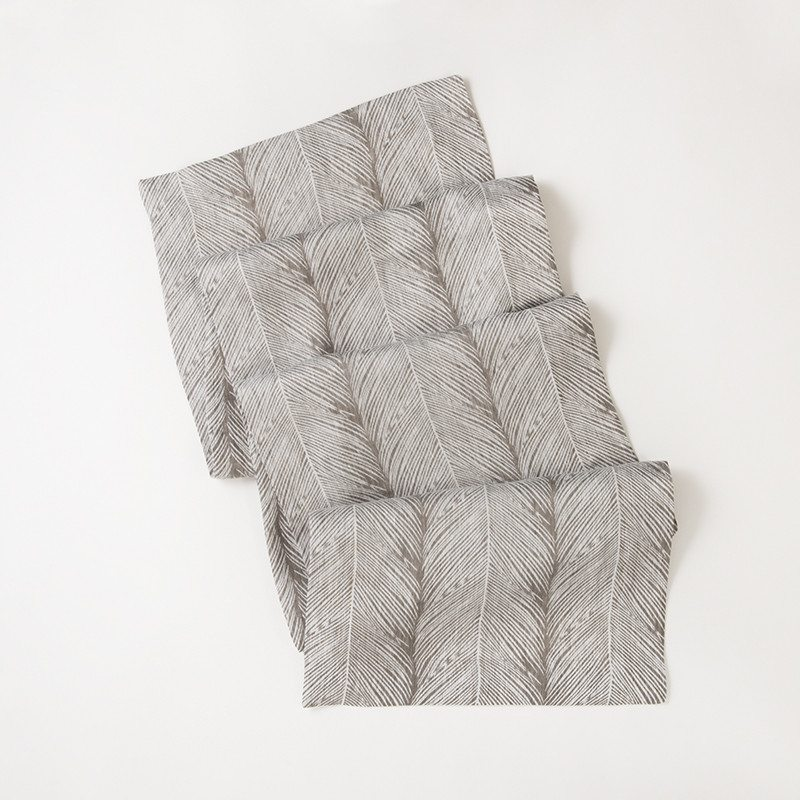Saba Light Gray Linen Feather Patterned Table Runner