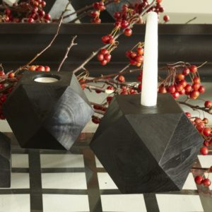 Tomas Black Wood Geometric Candleholder
