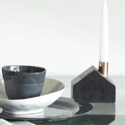 Vaasa Black Wood Off-Centered Candleholder