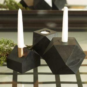 Vaasa Black Wood Off-Centered Candleholder