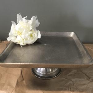Tomo Silver Metal Pedestal Platter