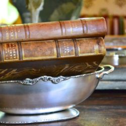 Henry Silver Metal Oval Pedestal Bowl with Handles