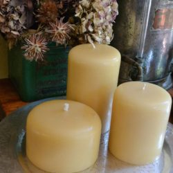 Chandi Unscented Hand Poured Beeswax Pillar Candle