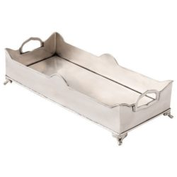 Chester Silver Metal Rectangular Footed Tray with Handles