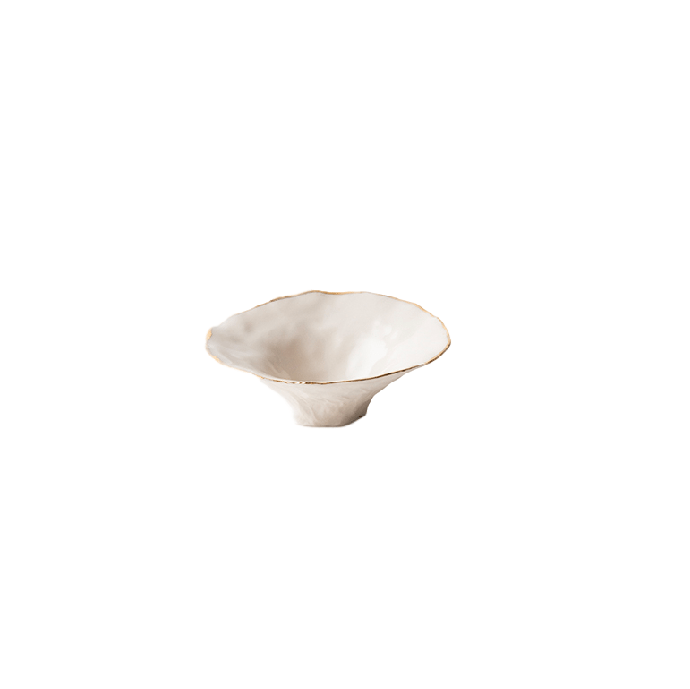 Devi White Porcelain Pinchpot Bowl with Gold Edge