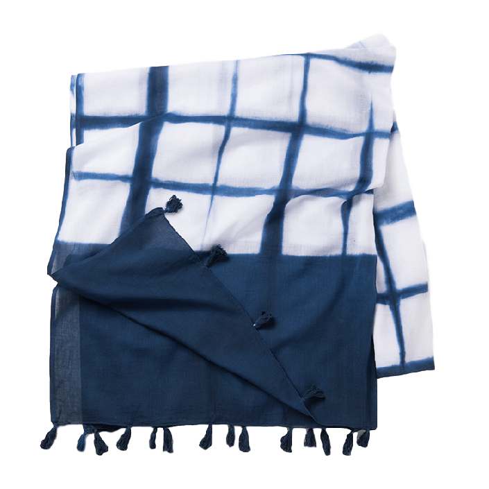 Ozlem Indigo Cotton Hand Dyed Table Linen