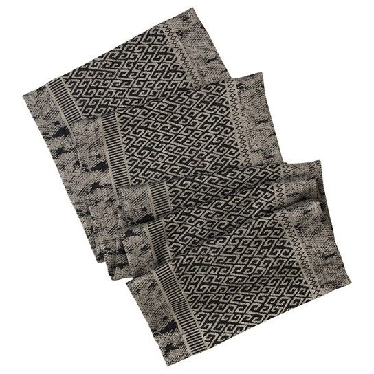 Ruba Linen And Viscose Gray Patterned Table Runner