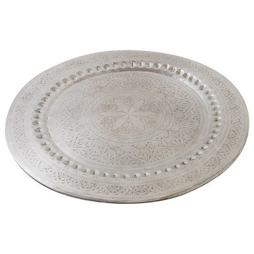 Sameera Large Silver Metal Round Serving Tray