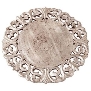 Dalia Silver Hand Carved Wood Charger (set of two)