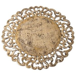 Dalia Pearl Hand Carved Wood Charger (set of two)