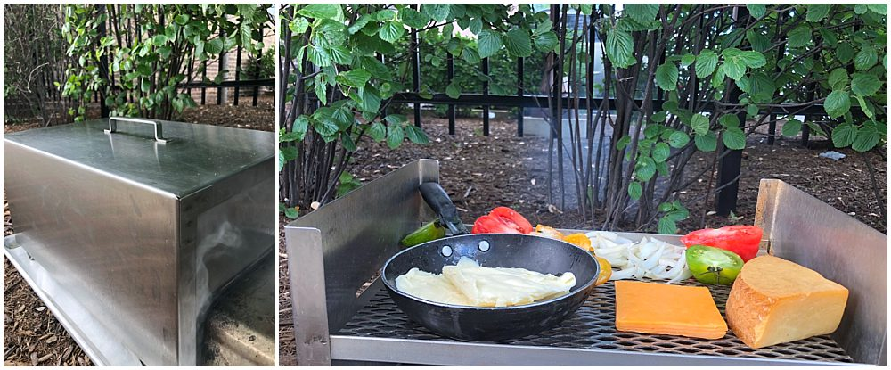 Stainless steel smoker with cheese, butter and tomatoes smoking outside